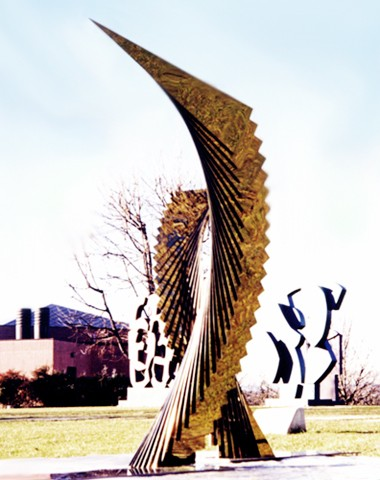 PAOLO, ROSSINI SCULPTURE GARDEN, BRIOSCO, ITALY, 1999, 23'x13'x20' MIRROR POLISHED COLOR STAINLESS STEEL & CLEAR ACRYLIC